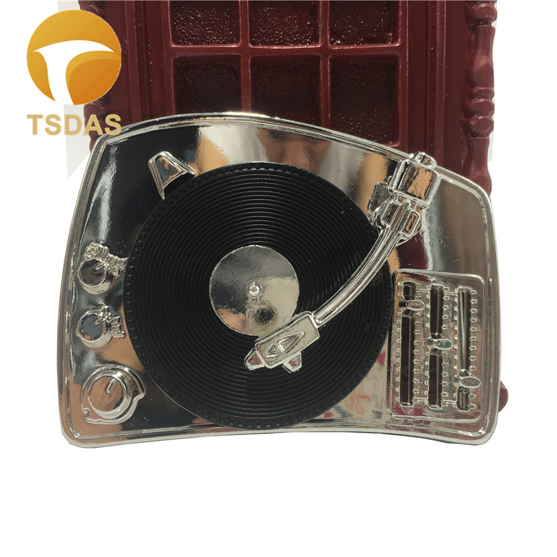 Classic AirVinyl Player Music Mens Metal Belt Buckle Silver Finishing Removable Belt Men Jeans accessories