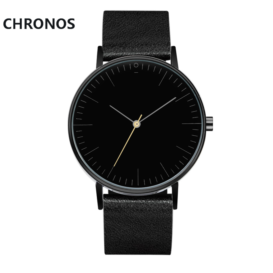 Simple Style Men&39;s Women Quartz Stock Watch 2017 Brand Men Wristwatch PU Leather Strap Fashion Casual Watches Relogio Masculino