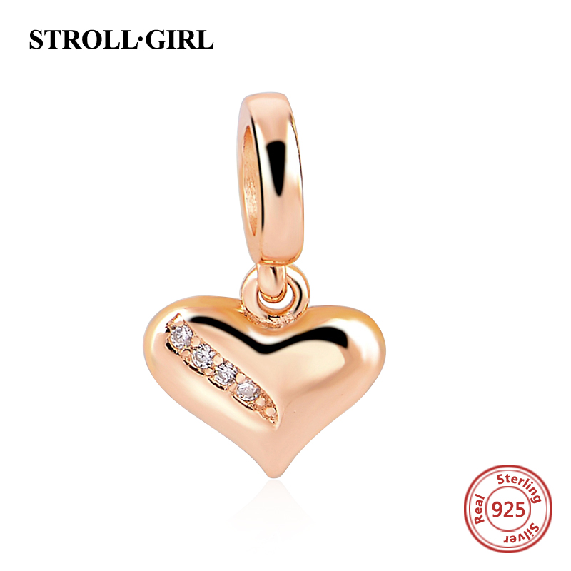 Authentic 925 Sterling Silver Rose Gold Heart Shape Charms beads Fit Pandora Bracelet DIY Original Pendant Jewelry making