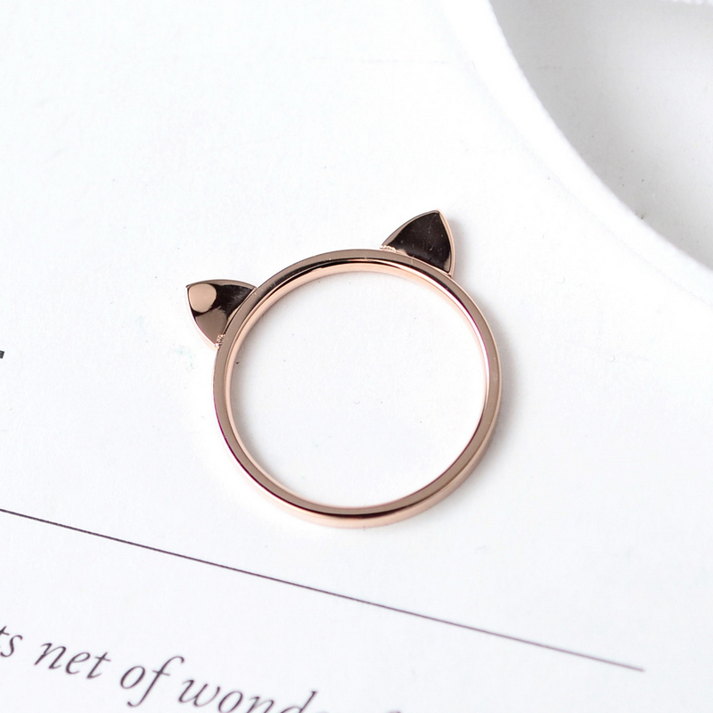 YUNRUO Rose Gold Color Sweet Cute Cat Ears Rings Titanium Steel Jewelry Woman Fashion Accessories Gift Never Fade Wholesale