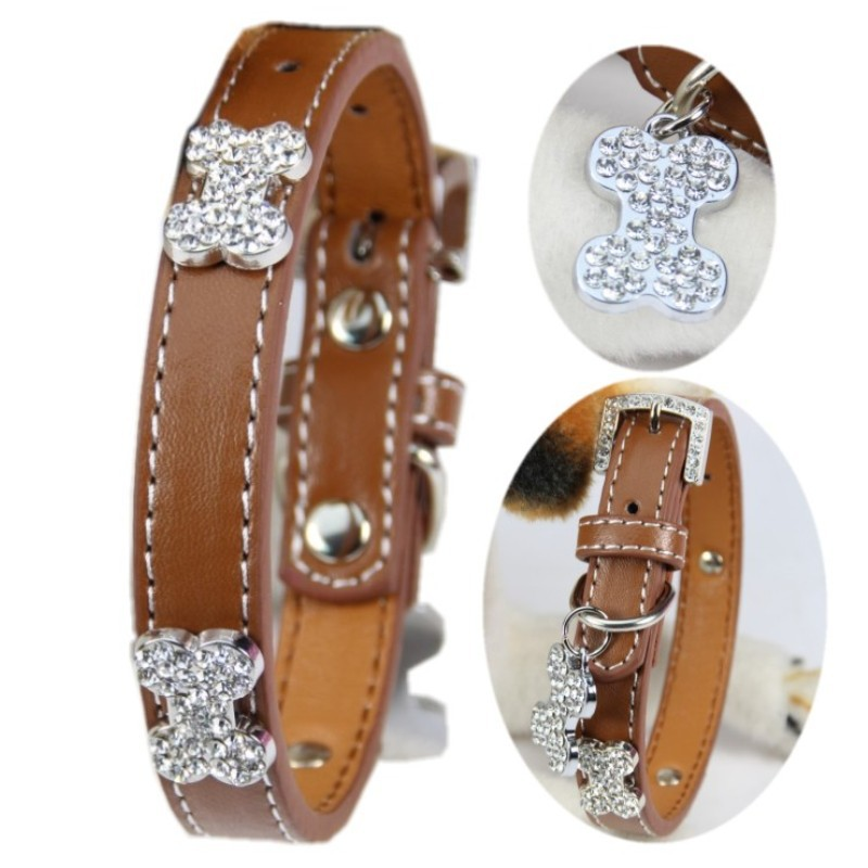 (1 piece / lot ) Perro Collar S M L Brown Pu Material Bling Diamond Bone Luxurious Puppy Small Large Big Dog Collar