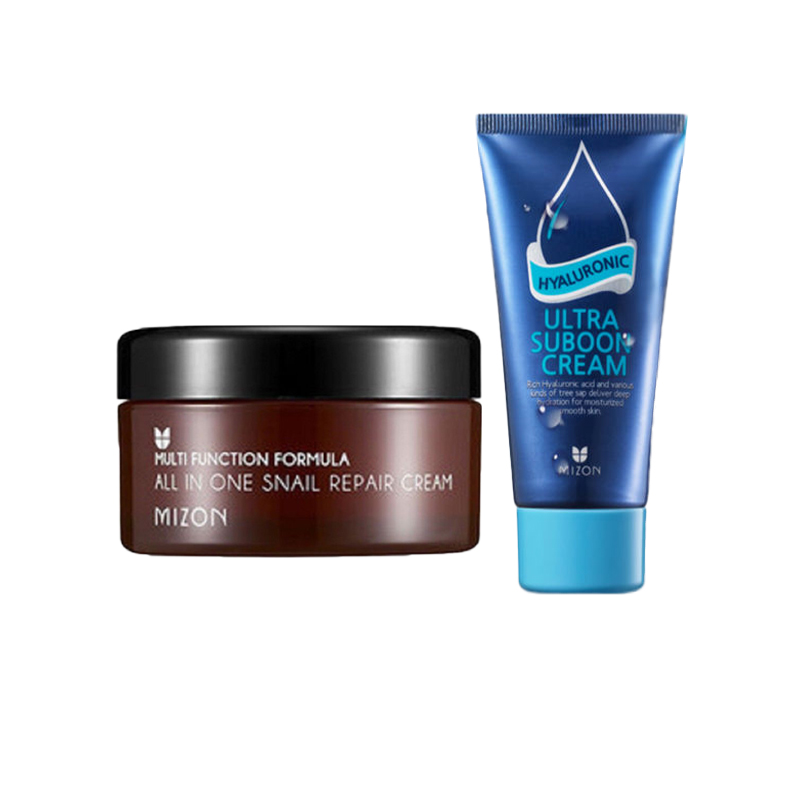 MIZON All In One Salyangoz Onarıcı Krem 30 ml + MIZON hyaluronik Ultra Suboon Krem 45 ml Nemlendirici Yüz Kremi En Iyi Kore kozmetik