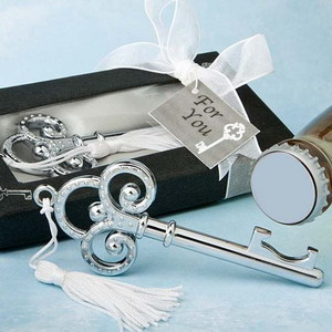 FREE SHIPPING(8pcs/Lot)+Victorian Style Silver Key Bottle Opener Wine Wedding Favors Unique Party Present Gift For Guest