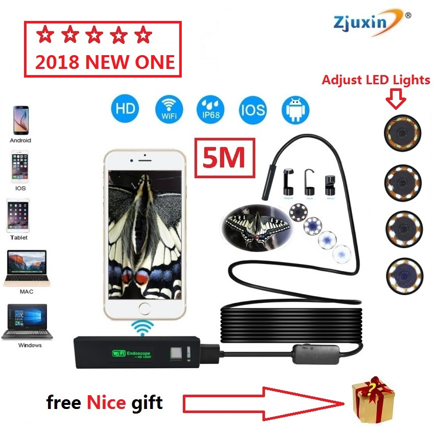 2018 YENI 5 M WIFI Endoskop Yeni Kamera 8mm HD Lens USB Iphone Android endoskop Tablet Kablosuz Endoskop wifi softwire