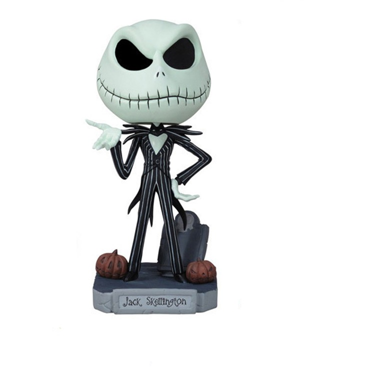 Jack SkellingtonQ Ücretsiz Kargo Nightmare Before Christmas Jack Kaçık Wobbler Bobble Head PVC Action Figure Koleksiyonu