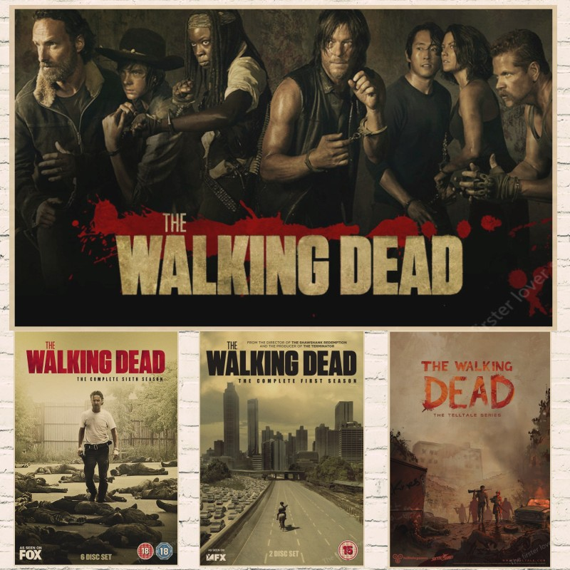 The Walking Dead sezon 7 anime TV Vintage Retro Mat Kraft Kağıt Antik Poster Duvar Sticker Ev Decora