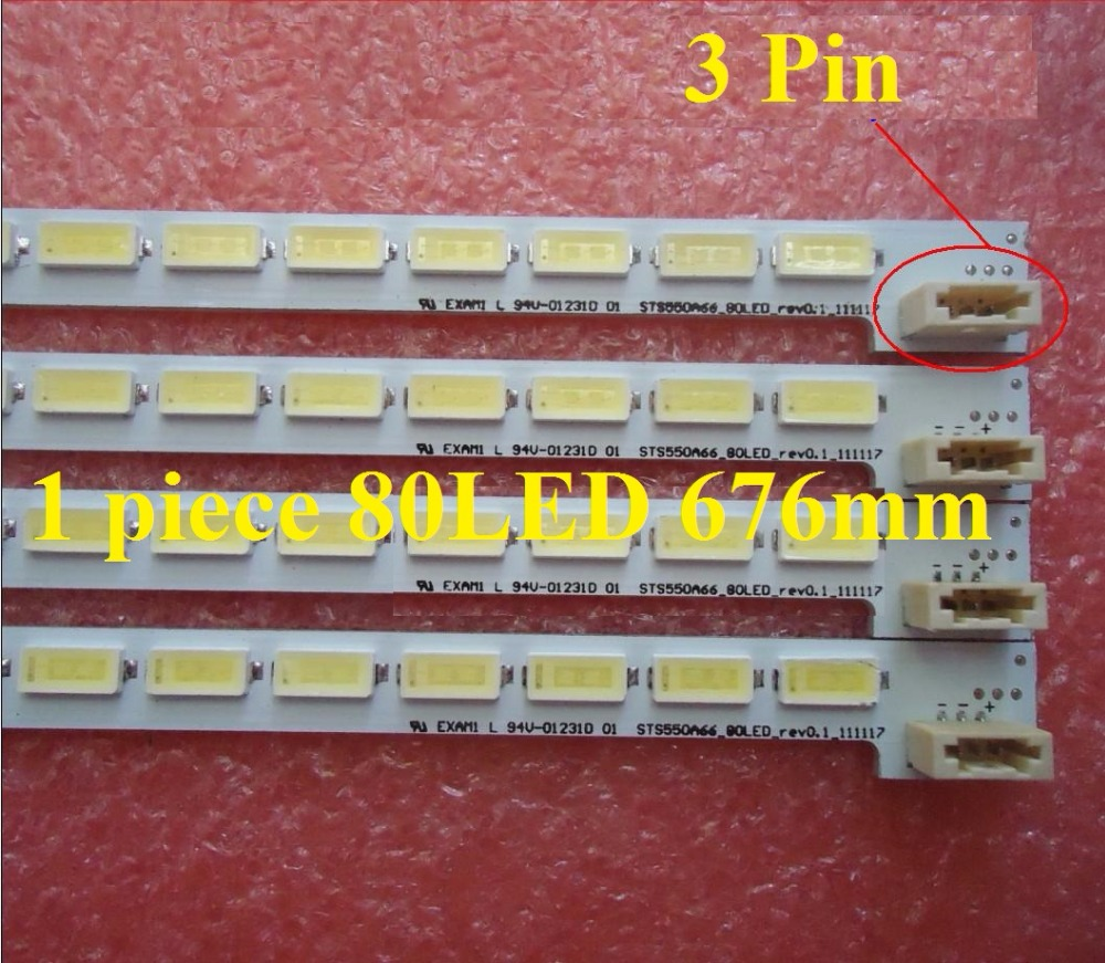 1 ADET LED55X5000DE LTA550HQ22 550HQ20 HQ16 LED şerit LJ64-03515A STS550A66_80LED_rev0.1_111117 80 LEDs 676mm