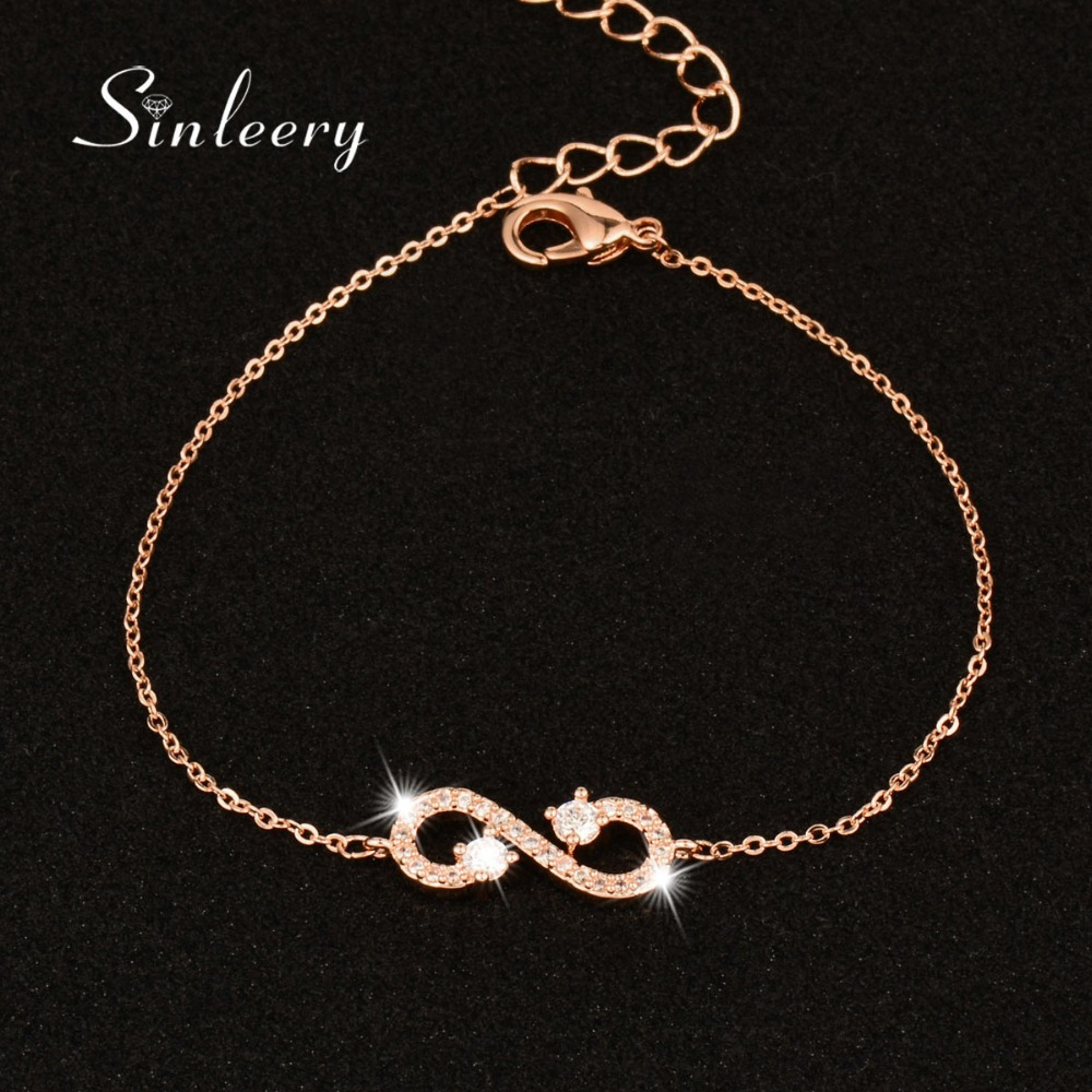 SINLEERY Classic Micro Paved Crystal Infinity Bracelets & Bangles Rose Gold Color Charm Jewelry For Women Girl Best Gifts SL021