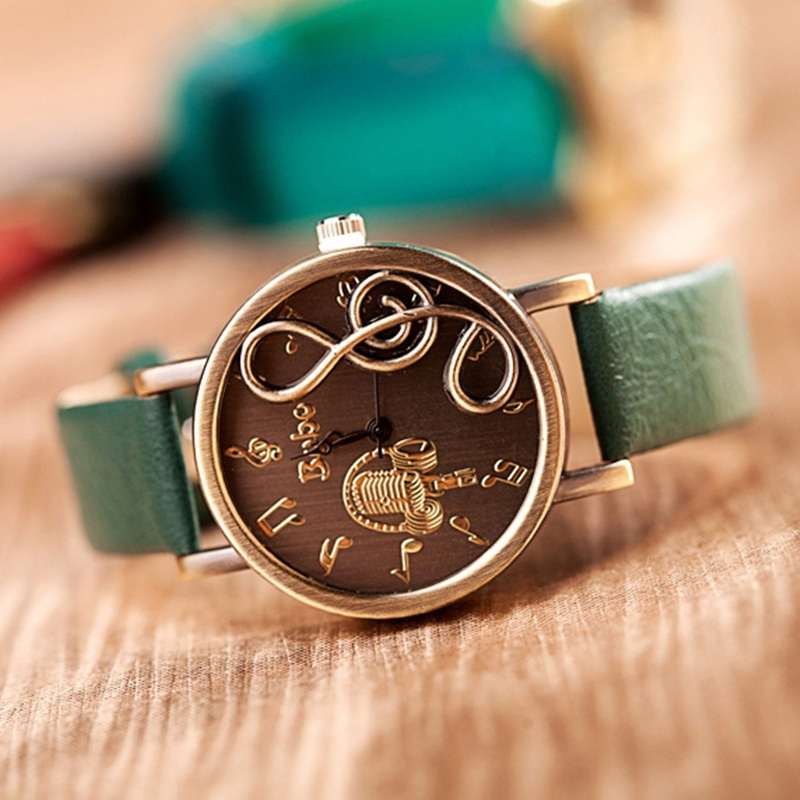 Relogio Hot Sell Retro Musical Instrument Notation PU Leather Strap Watches Women Dress Fashion Quartz Watches Reloj Mujer Green